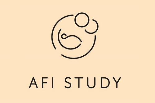 AFI study logo image - a black line drawing outlining two parents cradling a baby, on a beige background