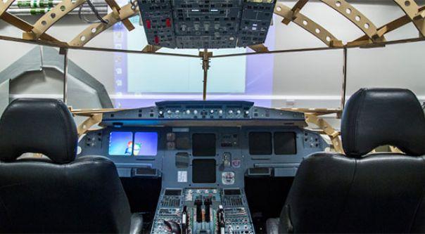 Inside a flight simulator at City
