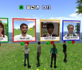 Avatars looking at the EVA Park mayoral candidate boards
