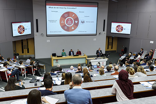 Wide shot of the CHIR launch event at the Oliver Thompson lecture theatre