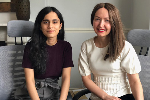 MSc Management graduate Shreeya Arora with Adsum co-founder Justina Tartilaite