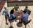 Five avatars chatting in the EVA Park coffee shop